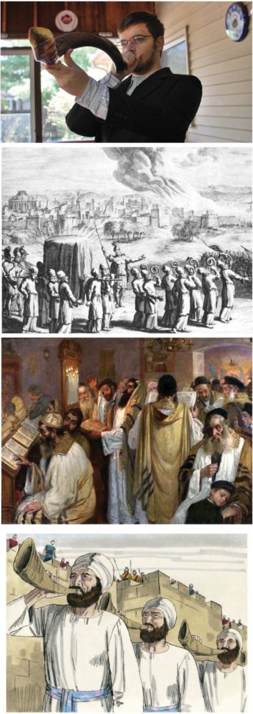 Primera Foto: Ilustración. Segunda: Batalla de Jericó. Tercera: Rezando en el Templo. Cuarta: Shofar en Josué 63, Jim Padgett, 1984.