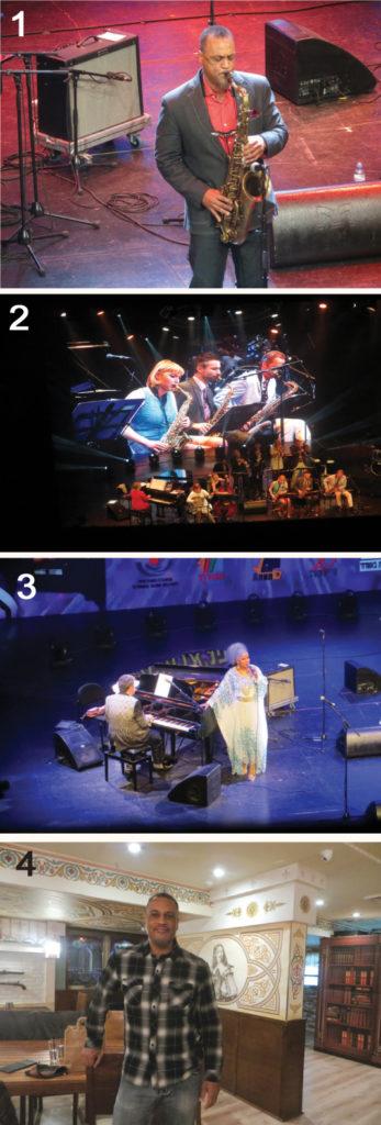 Foto 1: Craig Handy Foto 2: La banda de la Familia Carling. Foto 3: Ptashka y la cantante Arlee Leonard. Foto 4: Craig Handy en Aramis