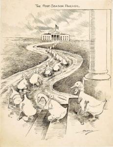 Pato rengo: Los patos rengos representados en esta caricatura de Clifford K. Berryman son los demócratas derrotados dirigiéndose hacia la Casa Blanca esperando asegurarse designaciones en cargos políticos por parte del presidente Woodrow Wilson.
