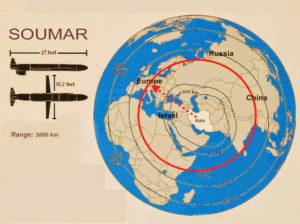 Foto: Gráfico describiendo el posible rango de ataque del misil crucero Soumar