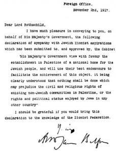 Declaración Balfour Foto: Wikipedia Dominio Publico