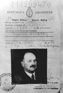 Identificación falsa argentina suministrada a Roschmann a nombre de Federico Wegener