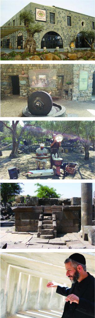 Foto 1: Beit Jabad, foto 2: Parque Talmúdico, foto 3: Música en el Parque Katzerín, foto 4: Podio de una antigua sinagoga, foto 5: Eviatar Banai