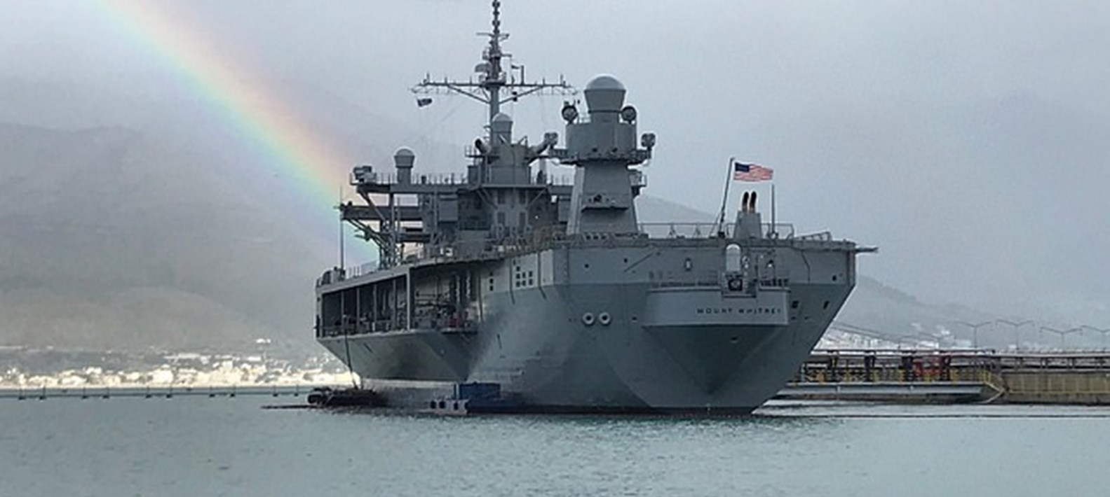 El buque Mount Whitney de EEUU atraca en el puerto de Haifa para ejercicios militares en Israel