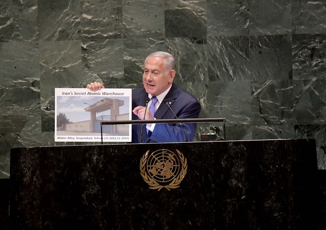 Netanyahu expone ante la ONU un almacén nuclear secreto en Teherán